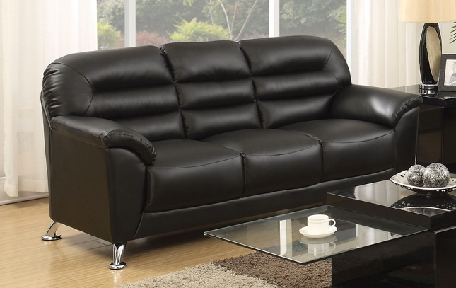 Asmund Modern Black Faux Leather Sofa With Chrome Legs