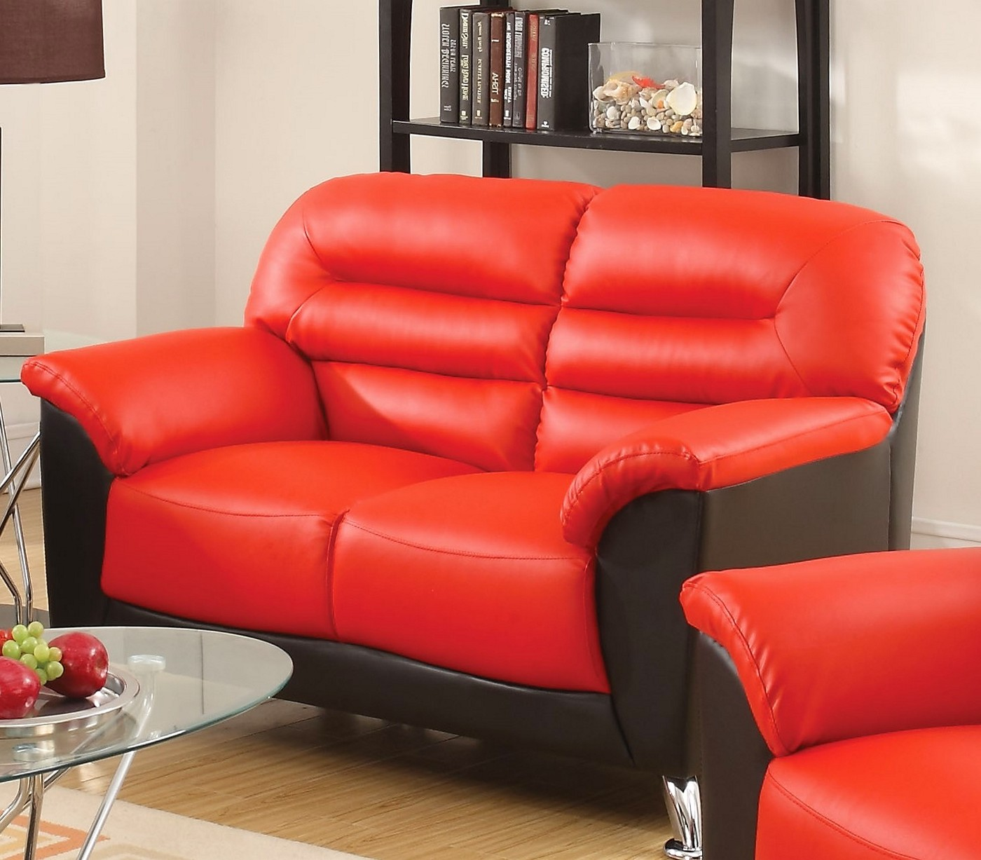 Asmund Modern Black & Red Faux Leather Sofa & Loveseat