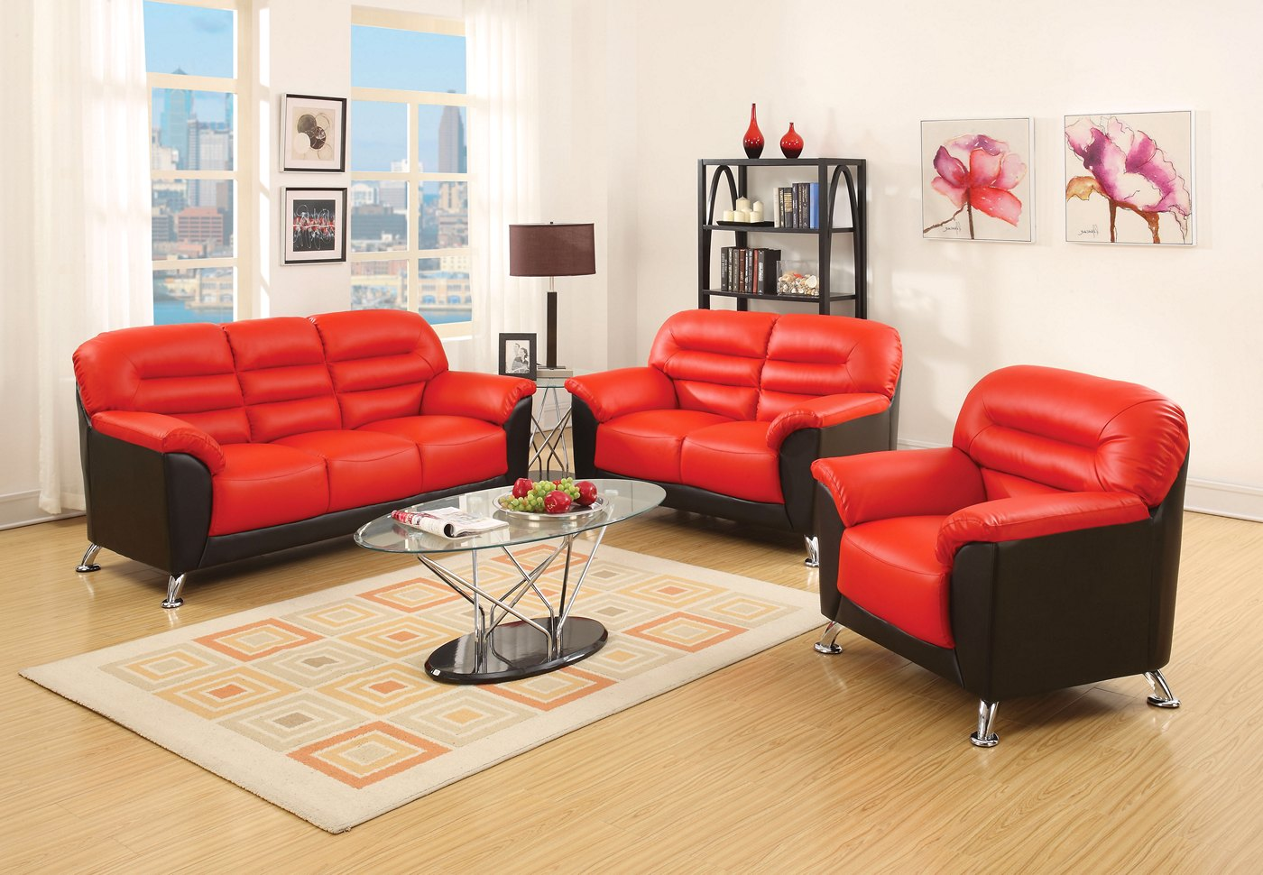 Asmund Modern Black Red Faux Leather Sofa Loveseat With Chrome Legs
