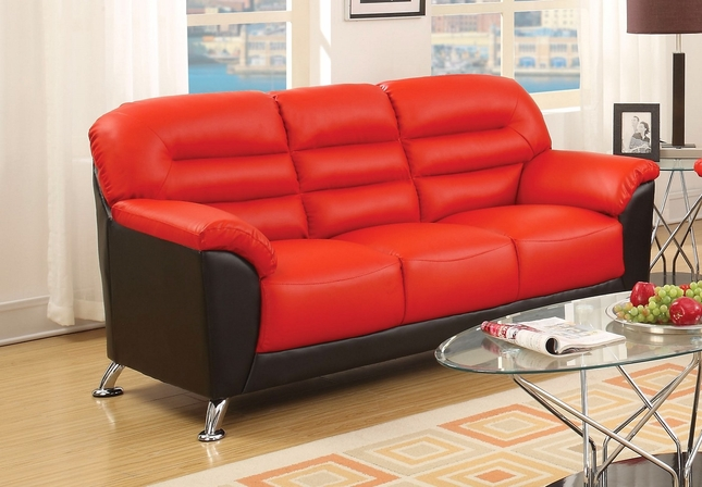 Asmund Modern Black Red Faux Leather Sofa With Chrome Legs