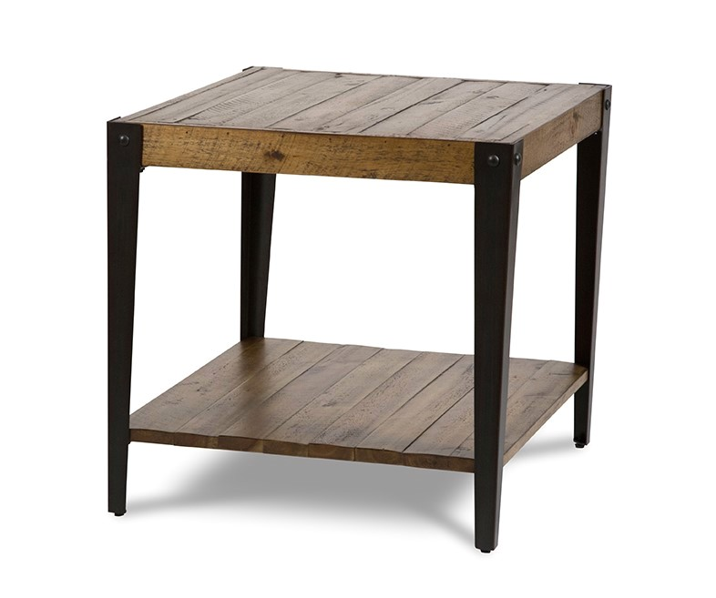 Aspen Rustic Wooden Slat End Table in Rough Sawn Wood Finish
