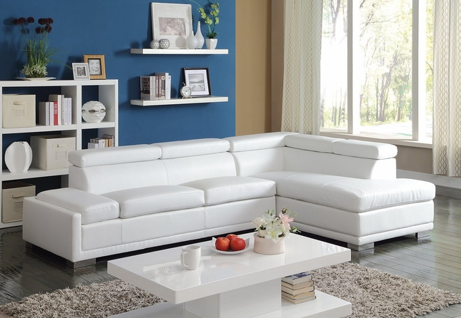 Astra Modern Adjustable Sectional Sofa w/ Chaise in White Bonded Leather