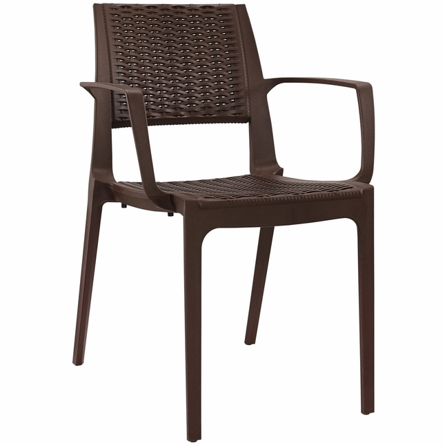 Astute Modern Plastic Criss Cross Patterned Low Back Dining Armchair, Coffee