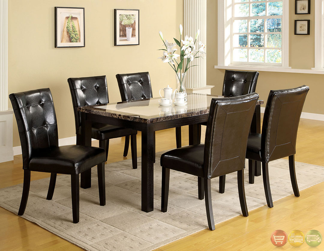 Atlas i contemporary black casual dining set with faux Black marble dining table set