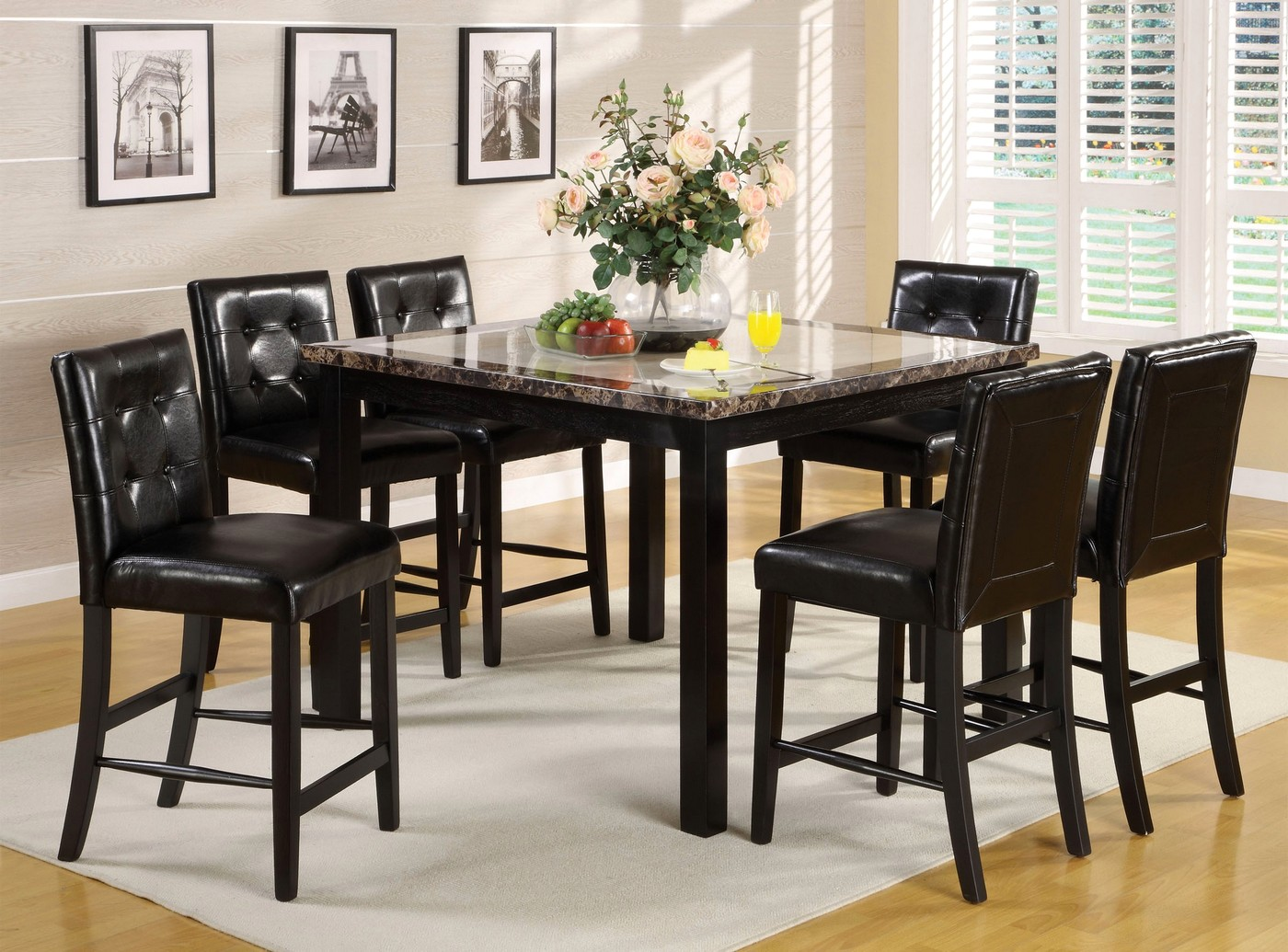 atlas ii contemporary black counter height dining set with leatherette parson chair cm3188pt 47. Black Bedroom Furniture Sets. Home Design Ideas