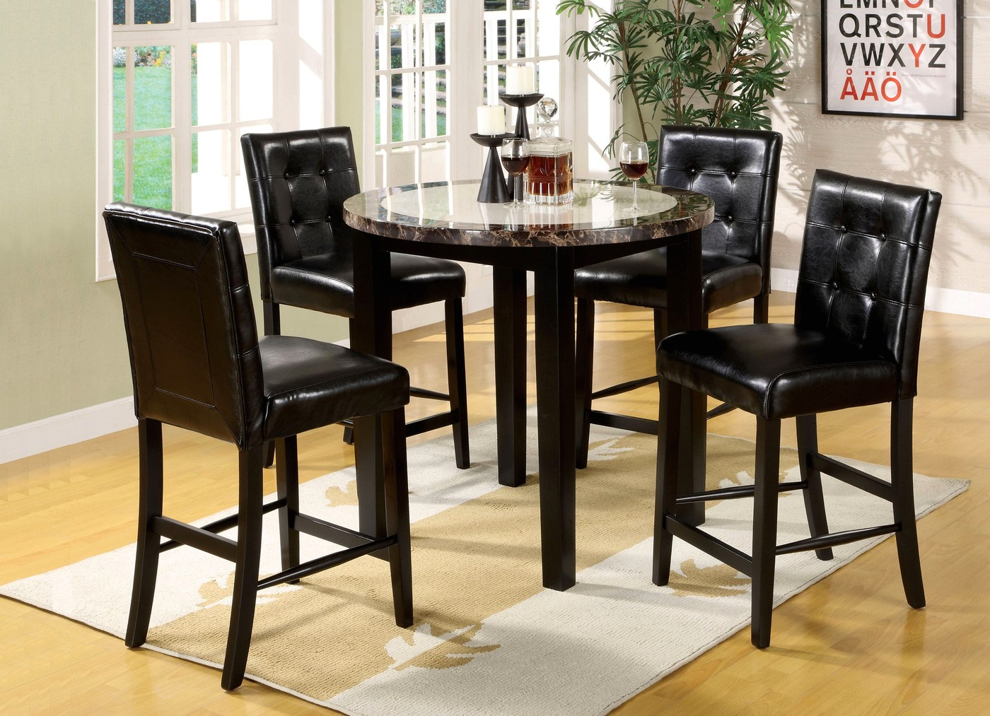 Atlas Iv Contemporary Black Counter Height Dining Set With