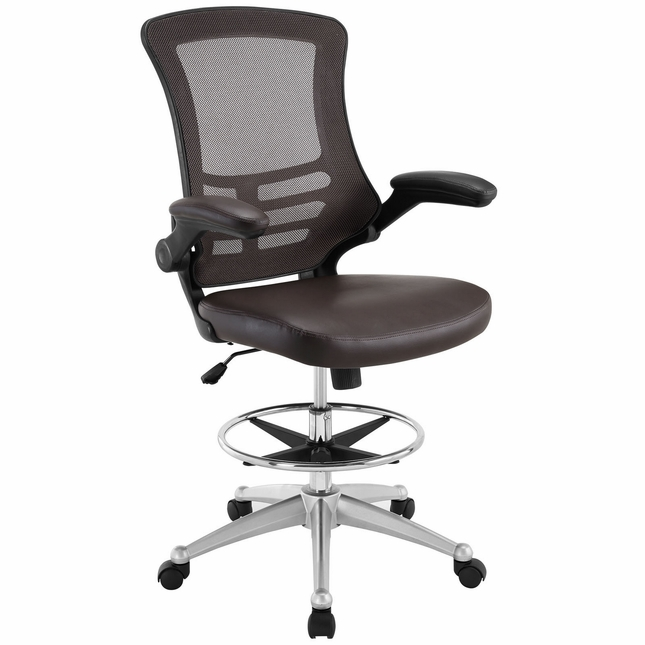 Attainment Modern Vinyl Office Chair With Lumbar Support, Brown