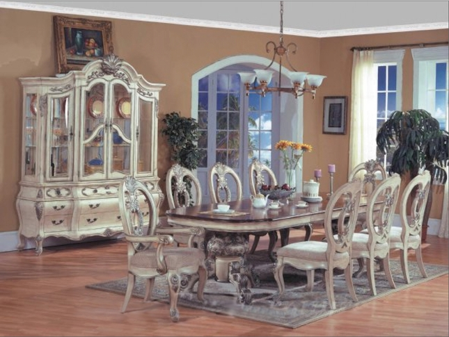 Aubrey Formal Dining Furniture Whitewash Ivory Finish