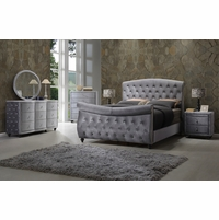 Aubrielle Contemporary Grey Velvet Crystal Tufted 4Pc Queen Sleigh Bed Set