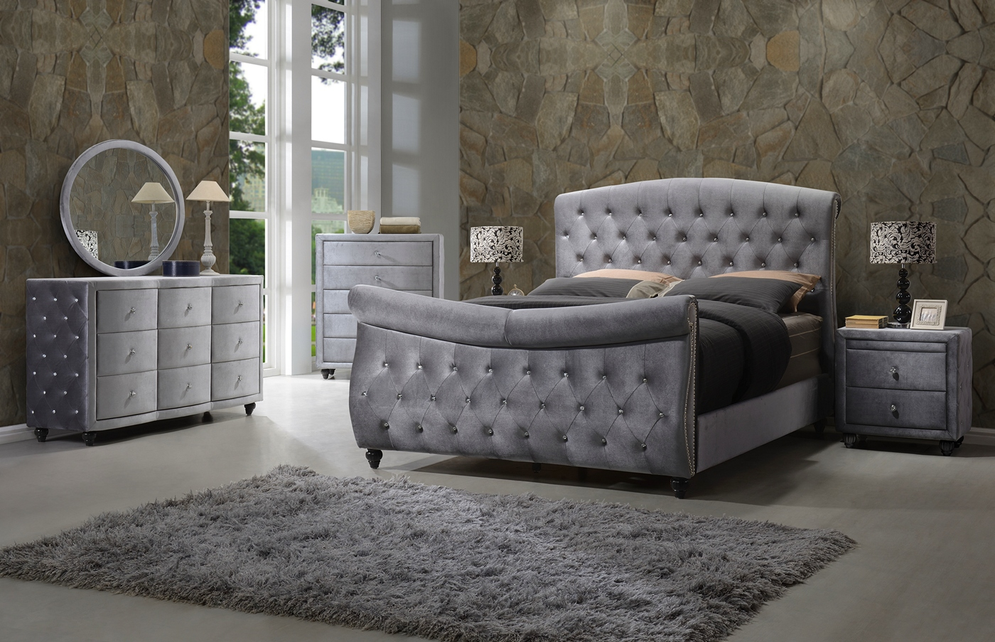 contemporary grey velvet crystal tufted 4pc queen sleigh bed set