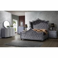 Aubrielle Contemporary Grey Velvet Crystal Tufted 4Pc Queen Canopy Bed Set