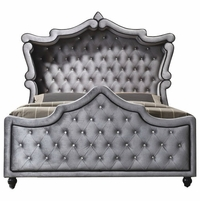 Aubrielle Contemporary Grey Velvet Crystal Tufted Queen Canopy Bed with Crystal Tufting