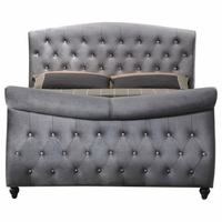 Aubrielle Contemporary Grey Velvet Crystal Tufted Queen Sleigh Bed with Crystal Tufting