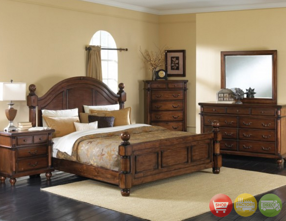 Augusta traditional walnut finish bedroom furniture set for Traditional bedroom furniture