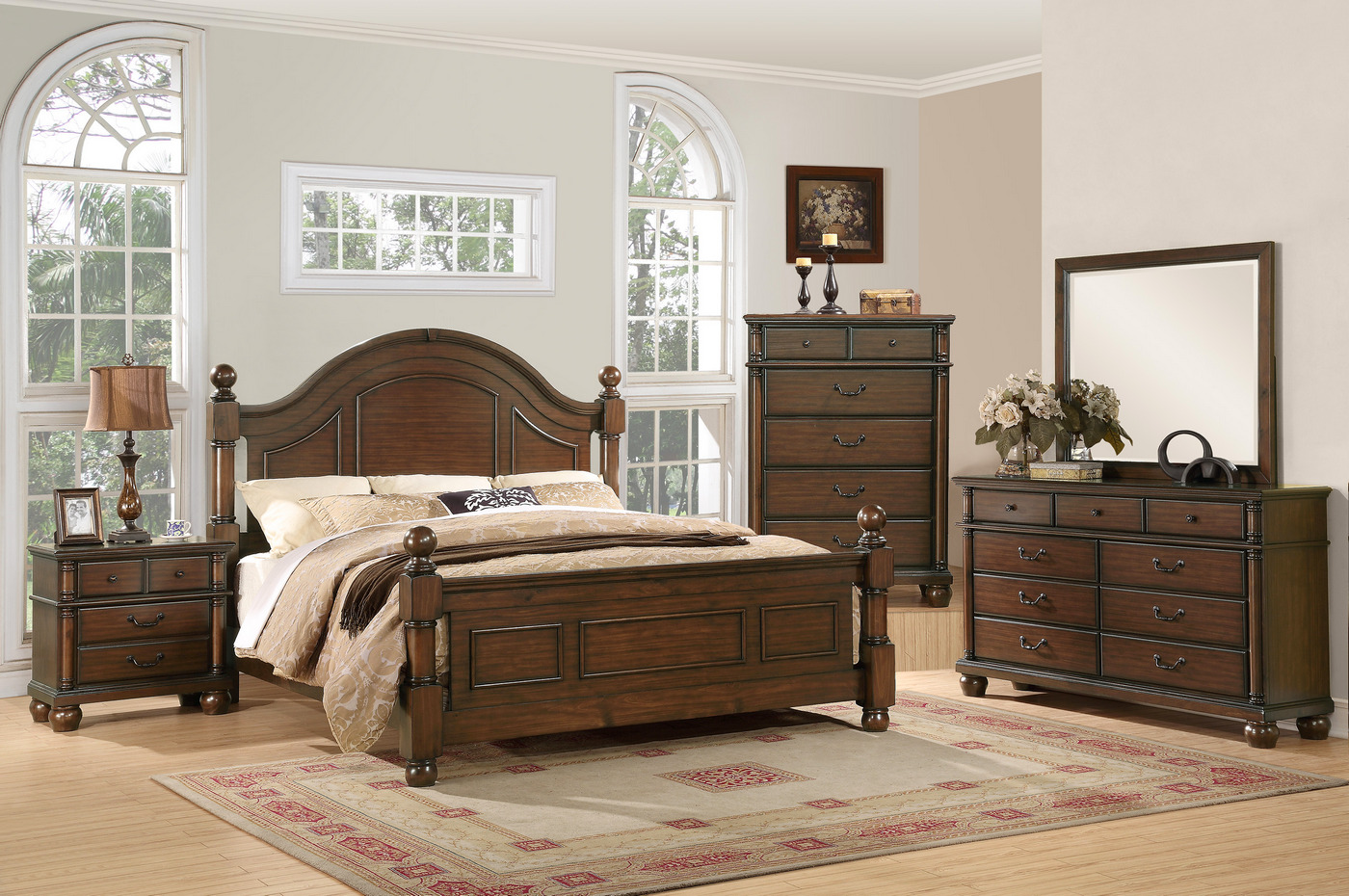 Augusta Traditional Walnut Finish Bedroom Furniture Set Free Shipping