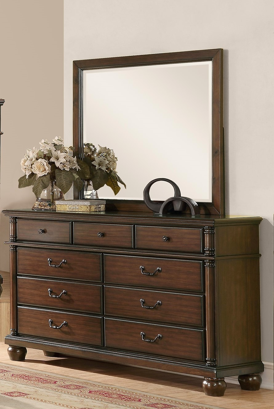 Augusta Traditional Walnut Finish Bedroom Furniture Set