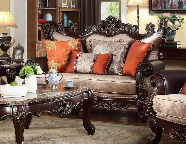 autumn beige victorian loveseat with carved wood frame and orange accents - Wood Frame Loveseat