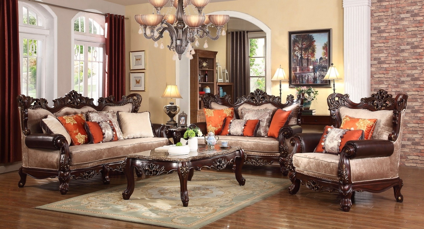 Autumn Beige Victorian Sofa With Carved Wood Frame And