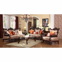 Autumn Beige Victorian Sofa Loveseat W Carved Wood Frame Orange Accents