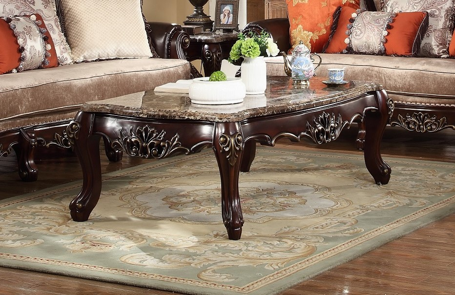 Autumn Victorian Marble Top Coffee Table In Carved Dark