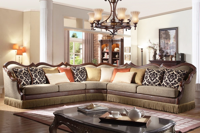 Avante Traditional Sectional Sofa w/ Wood Trim, Fringe Skirt & Decorative Pillows