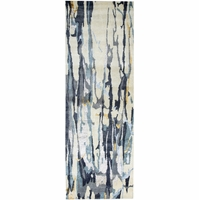 """Avant-garde Abstract New Zealand Wool Runner Rug In Blue & Ivory, 2'6"""" x 8'"""
