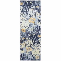 """Avant-garde Contemporary Floral Wool Runner Rug In Blue & Ivory, 2'6"""" x 8'"""