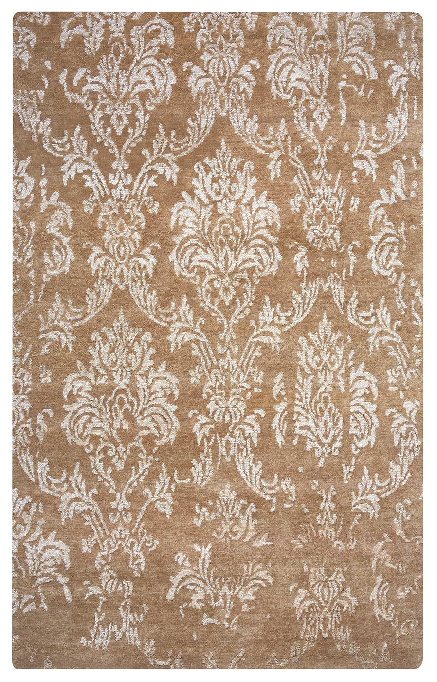 Avant Garde Damask Wool Area Rug In Camel Champagne Silver