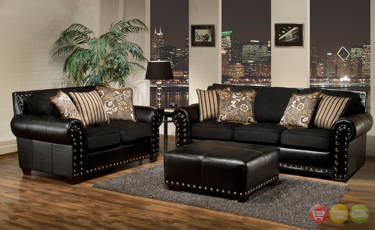 Nailhead living room sets - Black and brown living room furniture ...