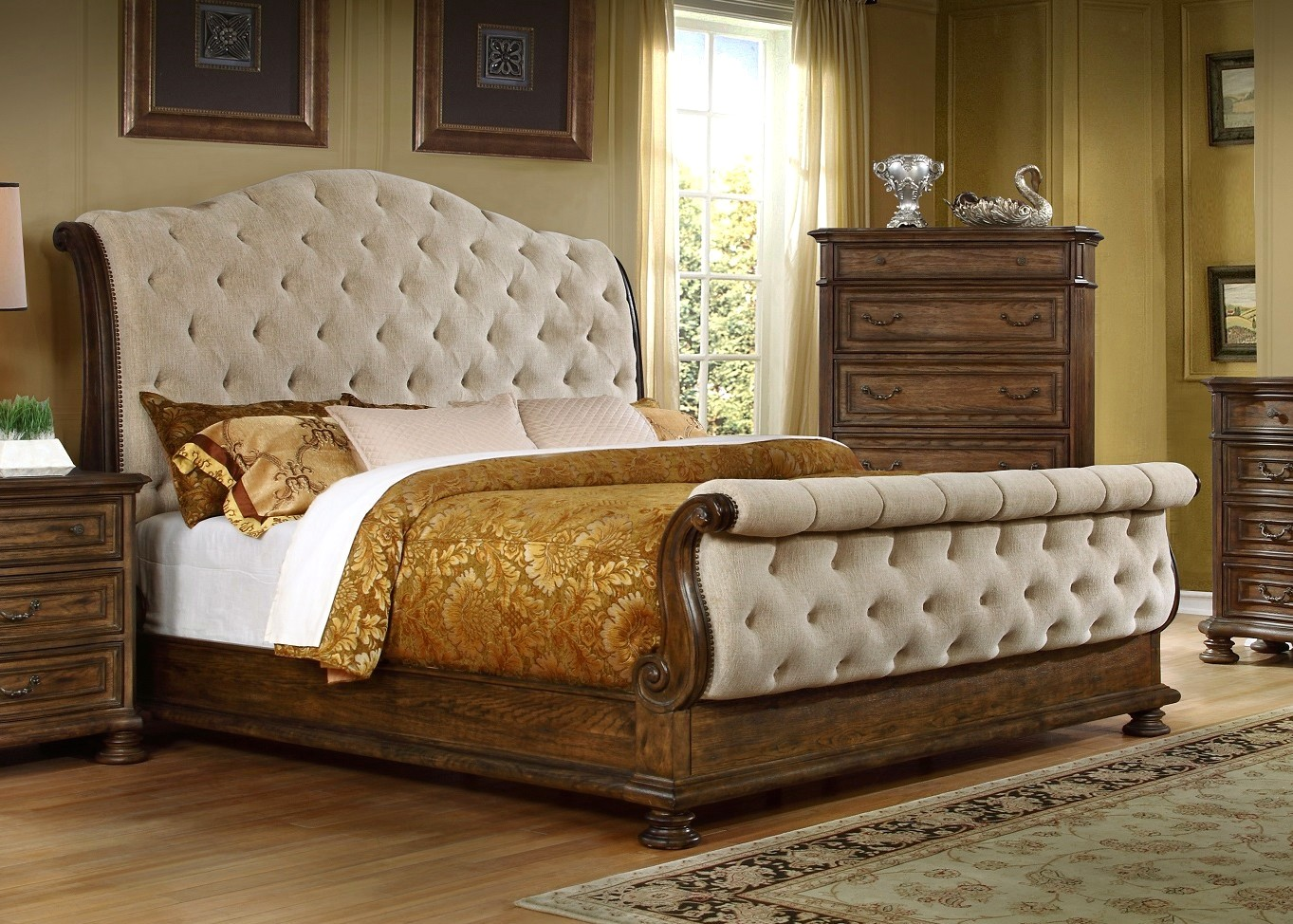 Aveline classic upholstered 4 pc sleigh queen bed set in pecan finish for Upholstered sleigh bedroom set