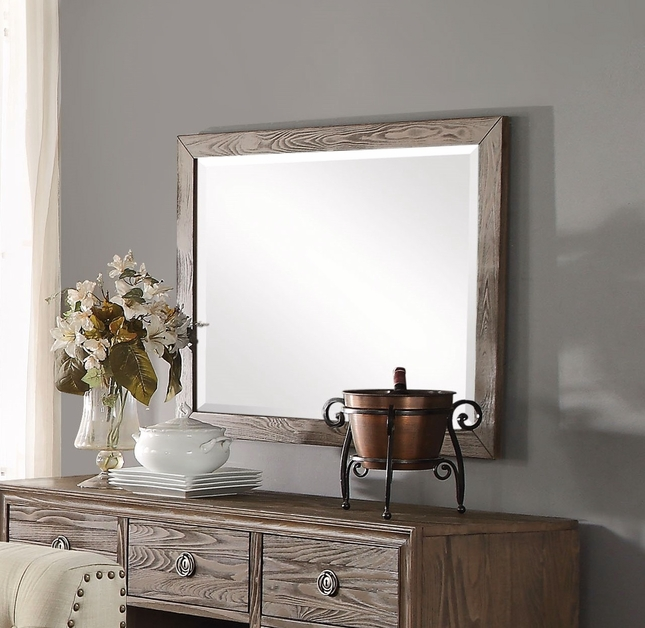 Aviemore Rustic Beveled Accent Mirror w/ Distressed Oak Finished Frame
