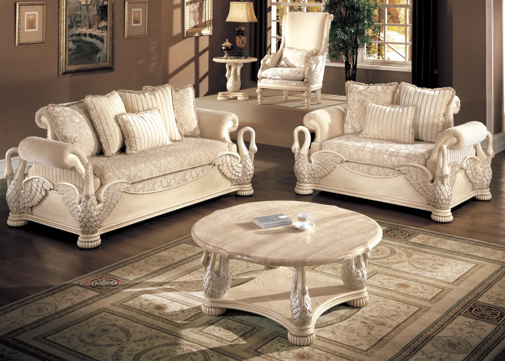 Avignon antique white swan motif luxury formal living room for Living bedroom furniture