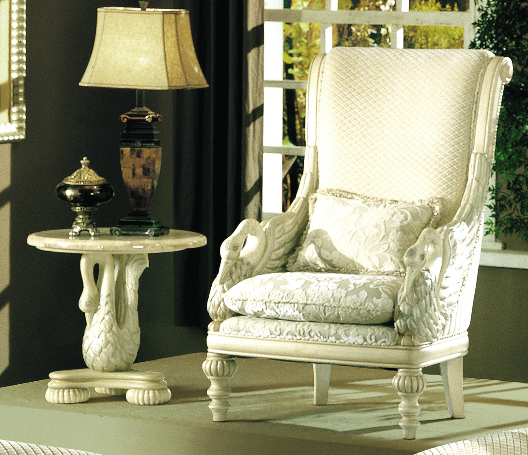 Avignon antique white swan motif luxury formal living room - Antique living room furniture sets ...