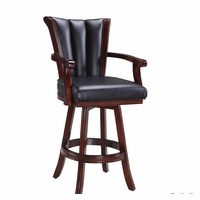 Avondale Swivel Barstool In Black Vinyl And Antique Walnut Finish