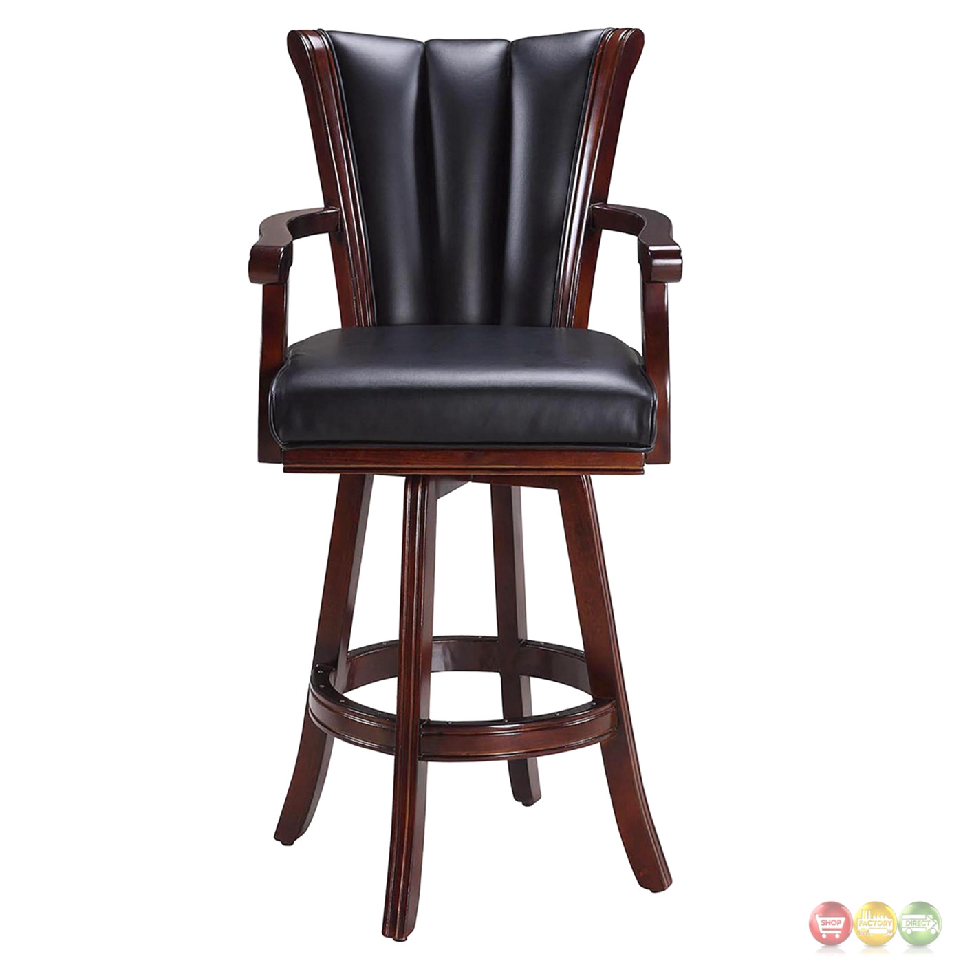 Avondale Swivel Barstool In Black Vinyl And Antique Walnut
