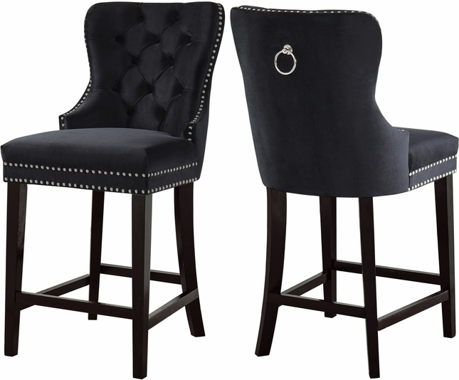 Awesome Axton Transitional Button Tufted Black Velvet Bar Stool With Lamtechconsult Wood Chair Design Ideas Lamtechconsultcom