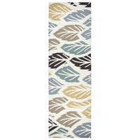 """Azzura Hill Wool Runner Area Rug 2'6""""x 8' White Light Brown Yellow Grey Floral"""