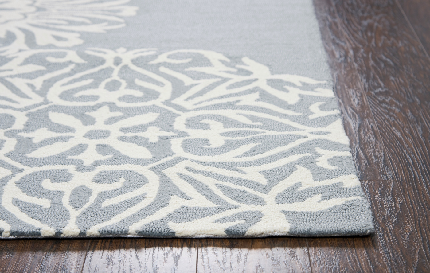 Azzura Hill Medallion Hand Tufted Area Rug In Gray Amp Off