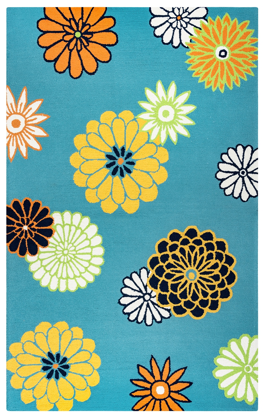 Azzura Hill Modern Floral Area Rug In Teal Yellow White