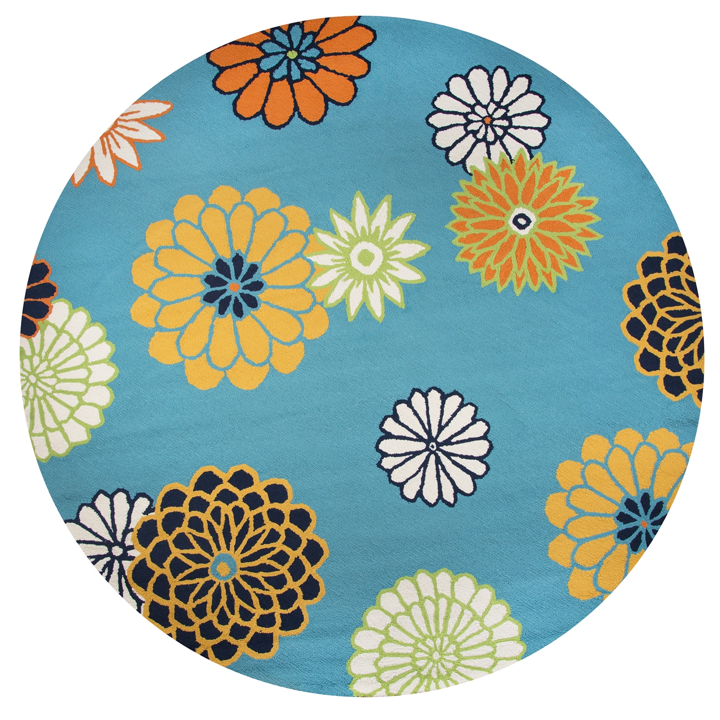 Azzura Hill Modern Floral Round Rug In Teal Yellow White