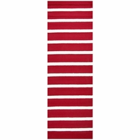 """Rizzy Azzura Hill Wool Rectangle Runner Area Rug 2'6""""x 8' Red Ivory White Stripe"""