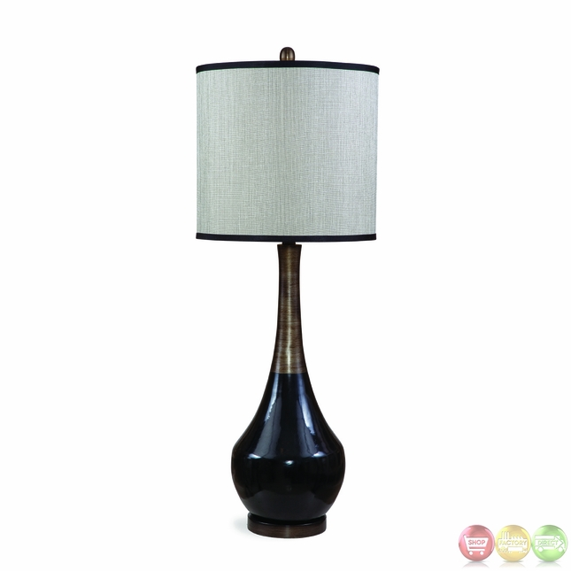 Babson black and antique silver table lamp l2574tec for Black and silver lamps