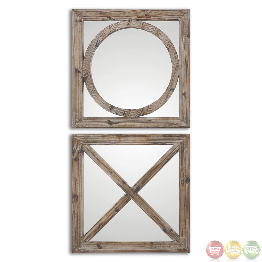 Baci e abbracci rustic solid wood mirror 07067 for Rustic mirror