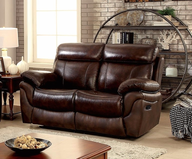 bailey brown plush dual reclining loveseat in top grain leather