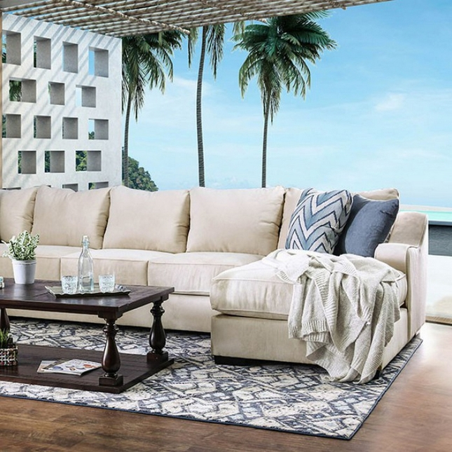 Baldwin Transitional Beige Fabric U-Shaped Sectional Sofa with Sloped Arms