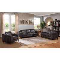 Ballari Mid-Century Modern Dark Grey 3pc Sofa Set in Top-Grain Leather