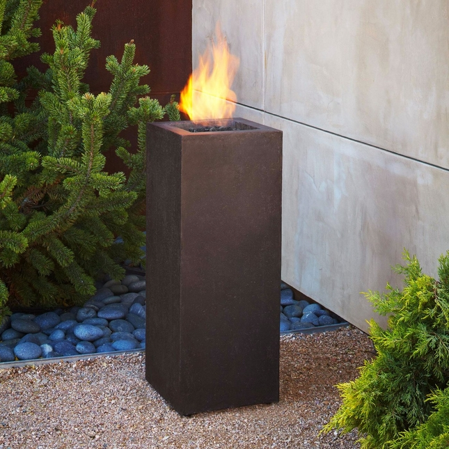 "Baltic 34"" Propane Fiber Concrete Fire Column In Kodiak Brown"