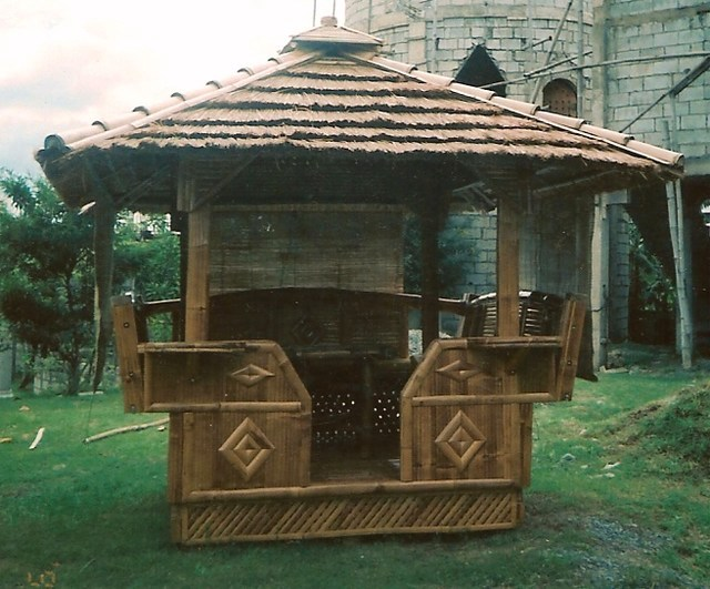 Bamboo Gazebo with Cogon Roof 8ft x 8ft Outdoor Tiki - 2203 8