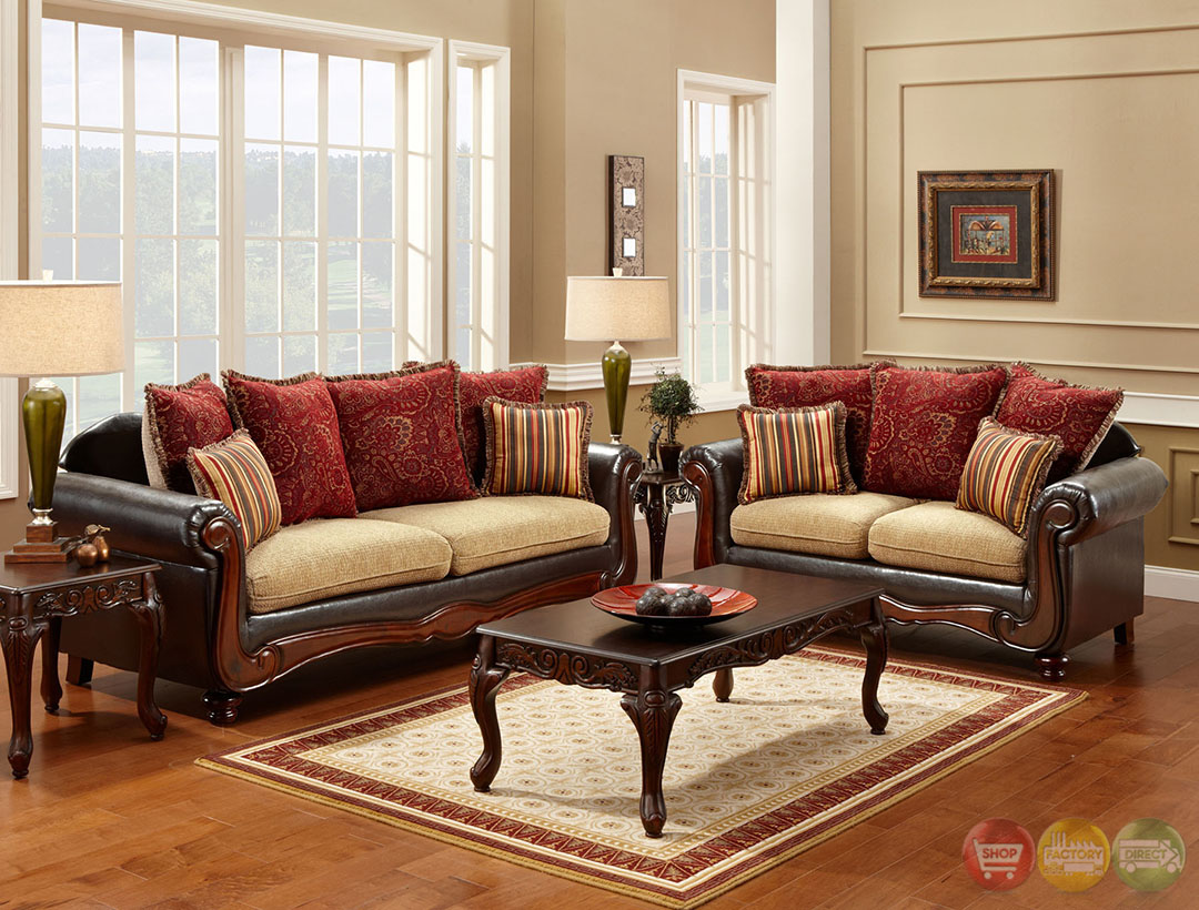 banstead mocha traditional sofa loveseat living room furniture set wood ebay. Black Bedroom Furniture Sets. Home Design Ideas