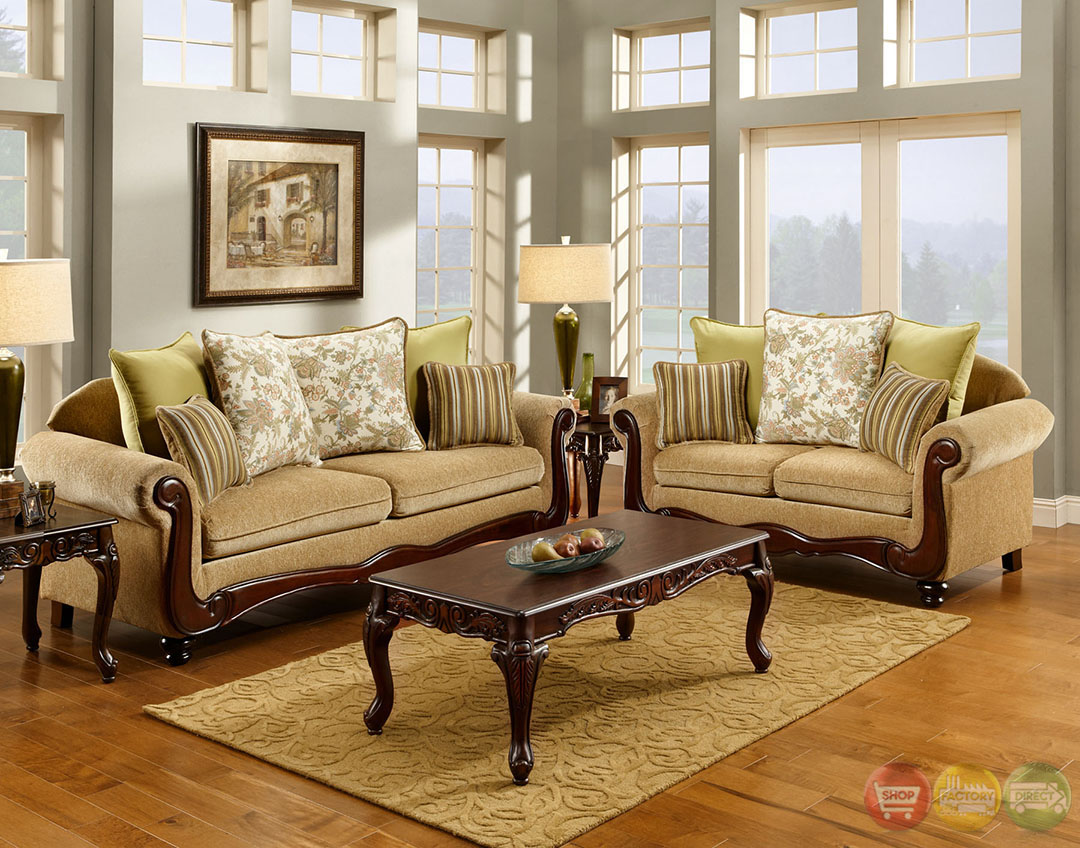 Banstead traditional wheat living room set with pillows sm7690 for Traditional living room sets